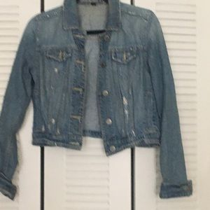 American eagle cropped distress look denim jacket